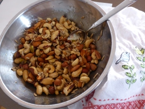 Nut mix ready for the oven.