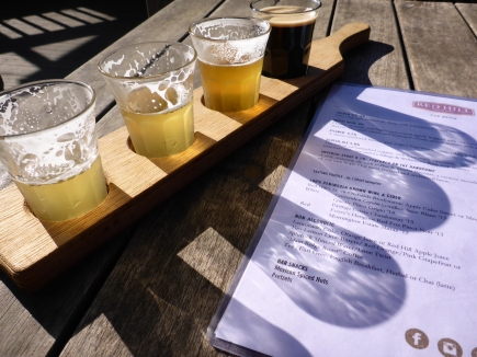 Tasting the beer at Red Hill Brewery