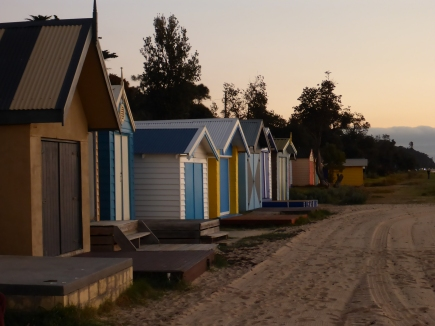 The bathing huts on the beach at Dromana