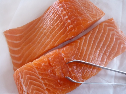Salmon fillets, make sure you have checked for bones.