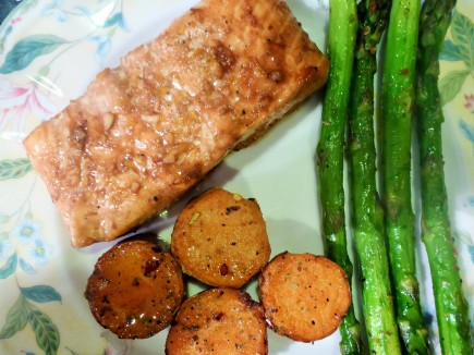 Maple Soy Salmon, roasted with sweet potato & asparagus