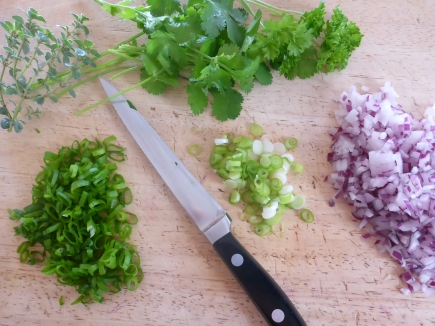 Lots of fresh onion and herbs