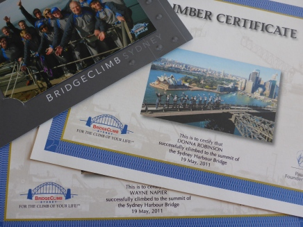 Photos and certificates from our Bridge Climb adventure