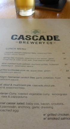 A small portion of the Menu at Cascade Brewery