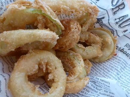 Crispy golden onion rings
