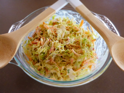 Coleslaw. The finished product ready to serve.