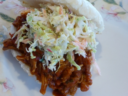Coleslaw is a great topping for pulled pork sandwiches