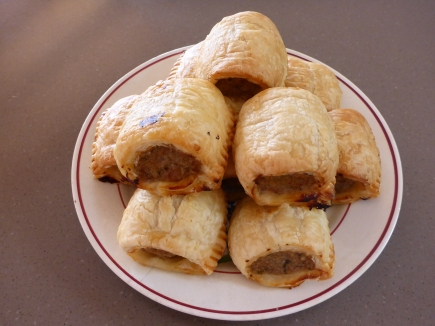 Homemade sausage rolls using store bought puff pastry.