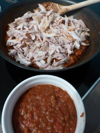 Shredded barbecue chicken makes great enchiladas.