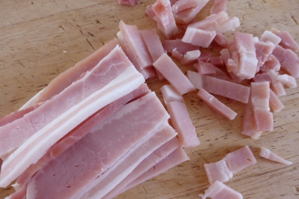 If using bacon roughly chop before cooking.