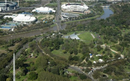 Sidney Myer Music Bowl and Domain Parklands from the Eureka Tower