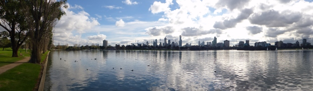 The lake, the city and the reflection. Albert Park