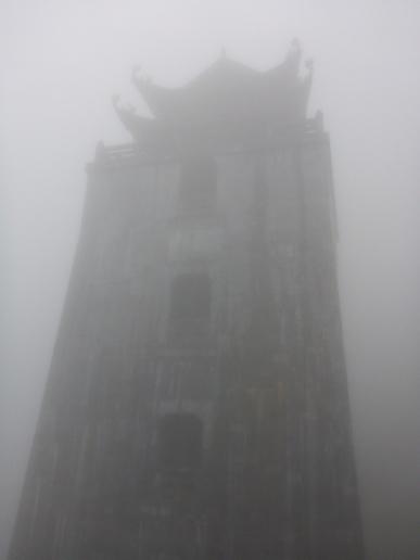 Can you see Dai Hong Chung Pagoda through the fog? 32.8m high, 5 floors and a bronze bell on each floor. Fanispan, Sapa